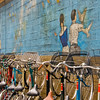 Tokyo, bikes and mural in Yanaka area