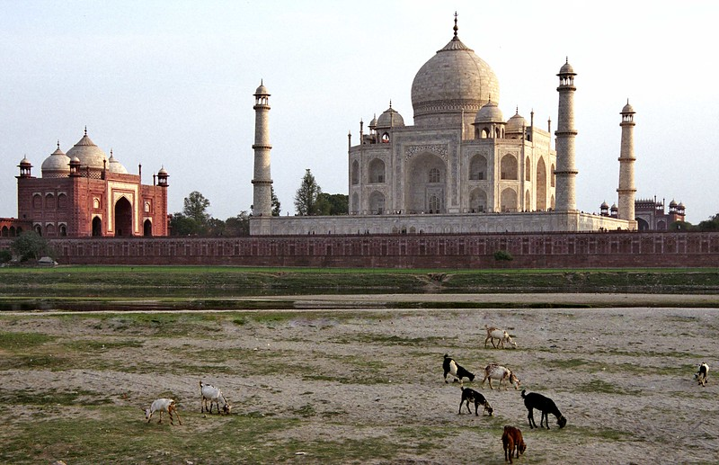 Agra, Taj Mahal, from across Yamuna River at sunset