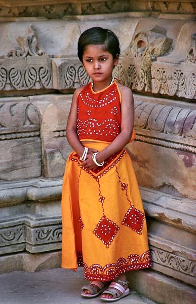 Khajuraho, young girl at temple