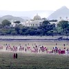 Udaipur, royal procession, grounds of Lake Palace Hotel