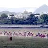 Udaipur, royal procession, grounds of Lake Palace Hotel