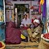 Jaiselmer, spice shop, transaction in process