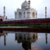Agra, Taj Mahal from across Yamuna River at sunset
