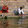 Varanasi, morning prayers at ghats on Ganges