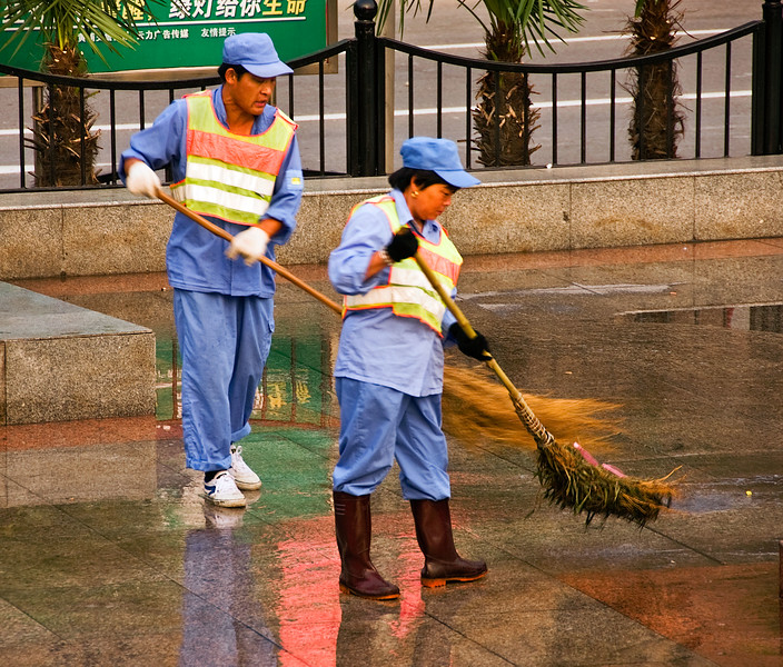Street cleaners on the Bund