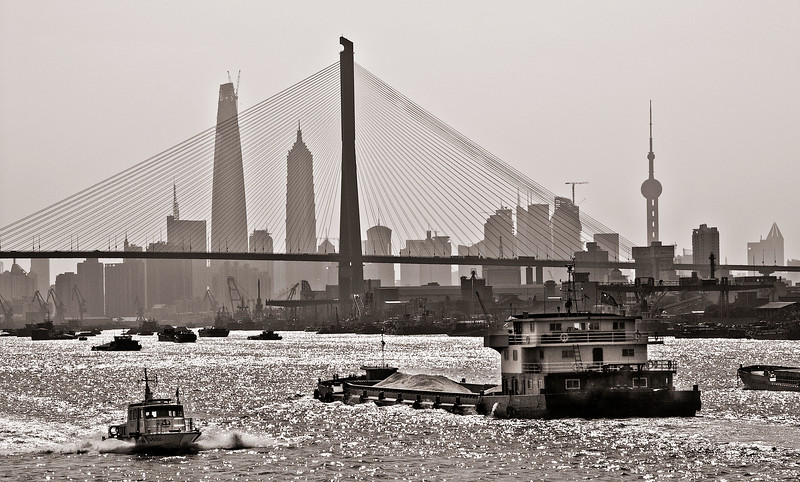 Shanghai Pudong seen through Yangpu Cable Bridge