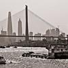 Shanghai Pudong seen through Yangpu Cable Bridge