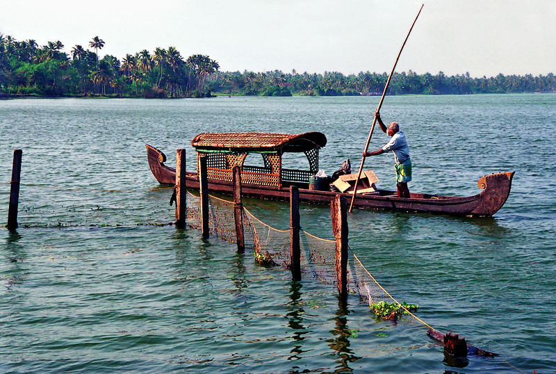 Boat scene, Kerala backwaters near Kayaloram