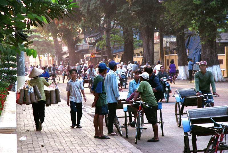 Chau Doc morning street scene