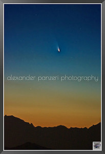 C/2011 L4 PanStarrs from Pertus Pass, finally a clear sky day, after the snow changed the panorama,the perielium is just passed 3 days ago -  stacked 36 images from 800 to 6400 ISO t-1/4[s] 200[mm]