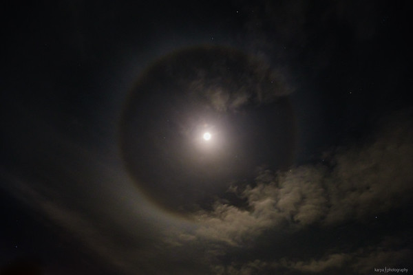 Moon halo above Cuxhaven