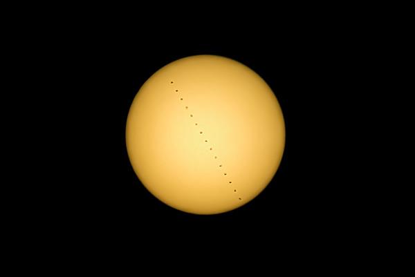Solar transit of ISS