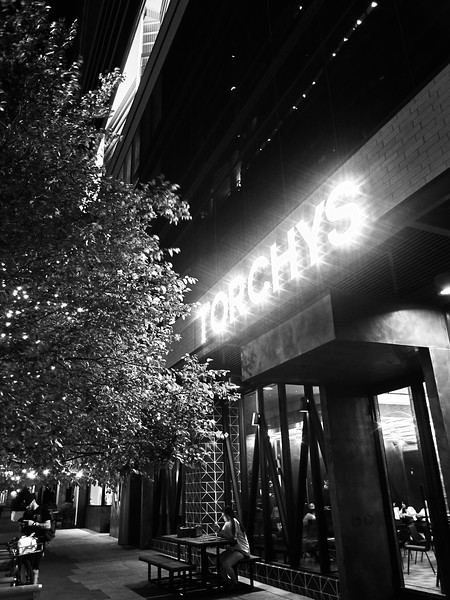 Torchy's Glowing Exterior - Austin, Texas