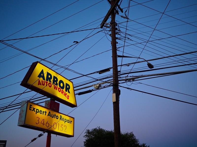 Arbor Sign and Tangled Telephone Pole, Burnet Road - Austin, Texas