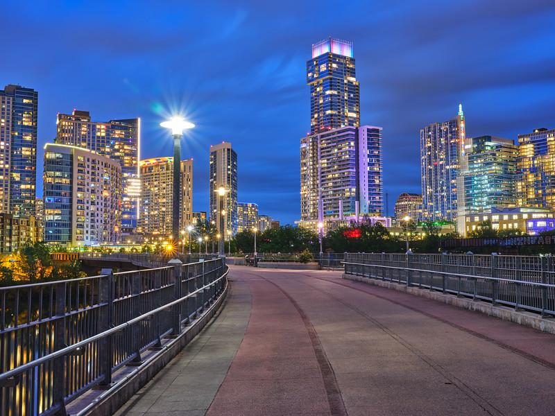 Skyline from Pfluger Pedestrian Bridge - Austin, Texas