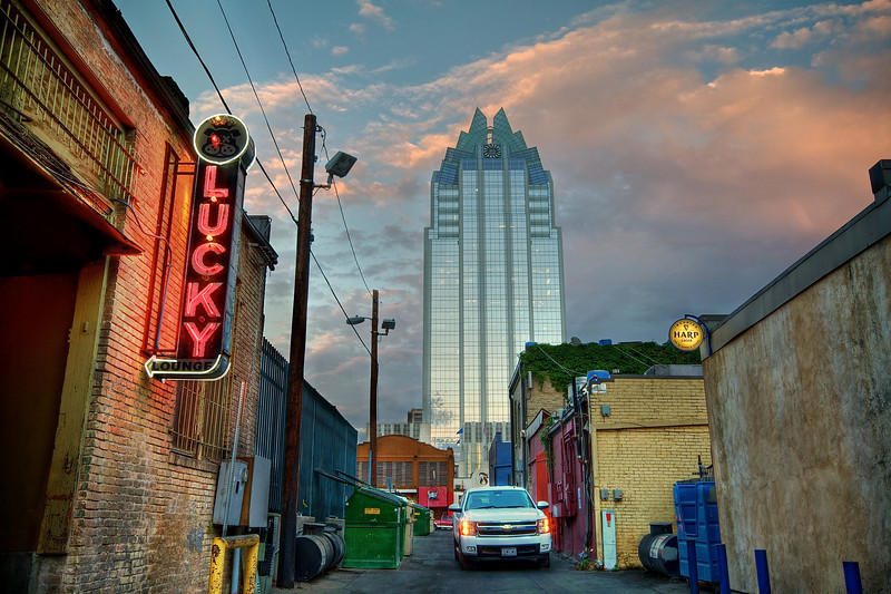 Frost Tower and Back Alley - Austin, Texas