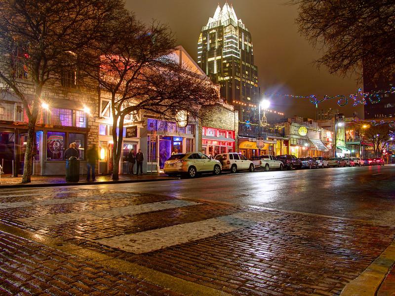 A rainy night on 6th street - Austin, Texas
