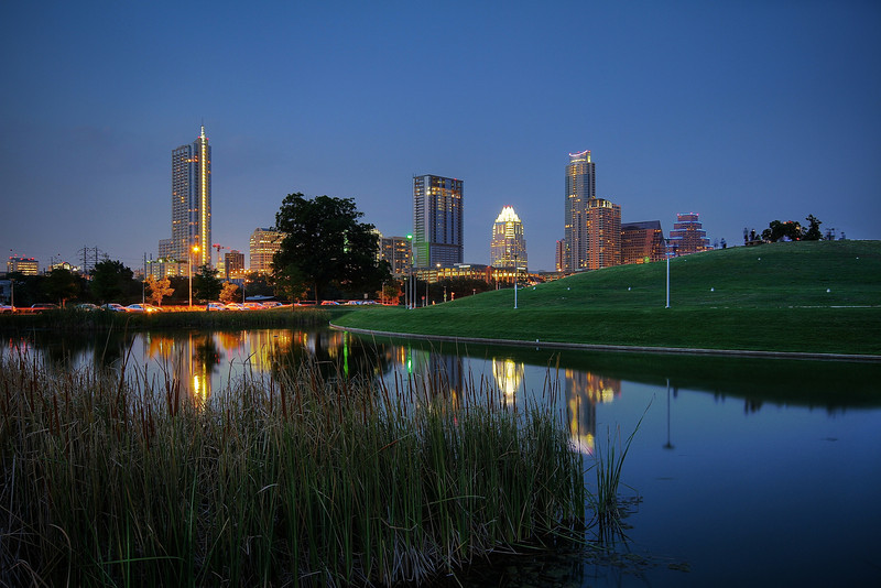 Downtown Skyline and Reflecting Pond - Austin, Texas