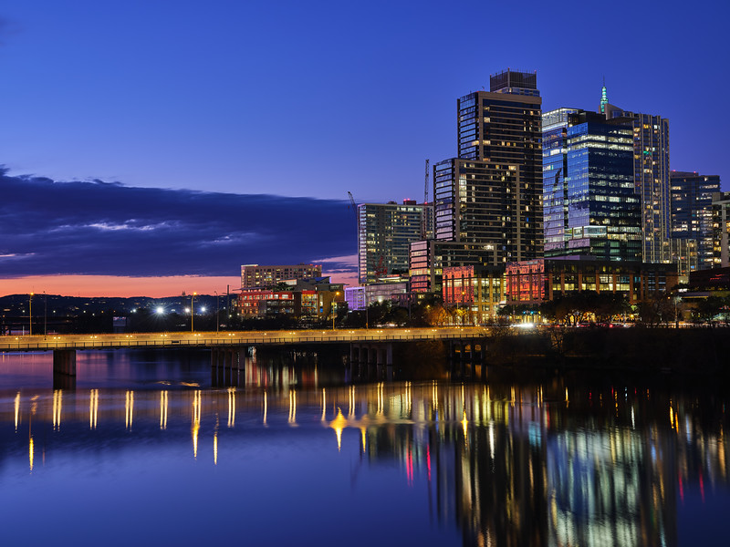 Downtown Approaching Blue Hour - Austin, Texas