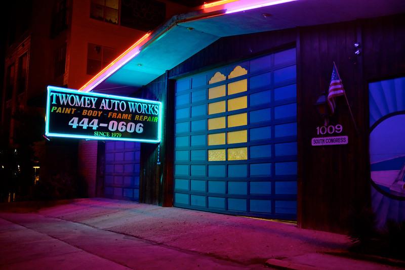 A Garage with Neon, South Congress Avenue - Austin, Texas