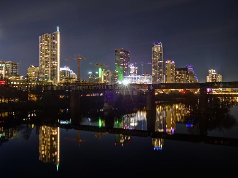 Skyline from the Pfluger Pedestrian Bridge - Austin, Texas