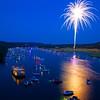 Fireworks over Lake Austin during blue hour (2013) - Austin, Texas