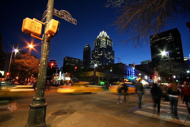 Taxis on 6th Street - Austin, Texas