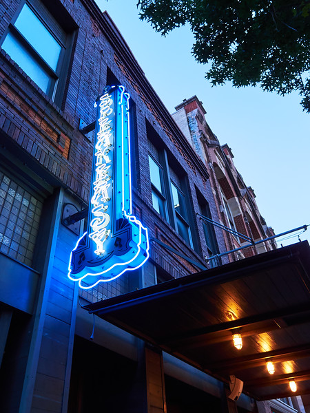 Blue Neon and Yellow Lights - Austin, Texas