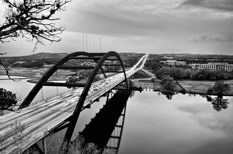 View from the cliffs above Pennybacker Bridge in Austin Texas.