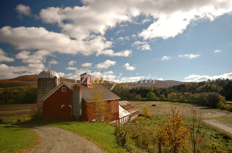 Morning light on red Vermont barn