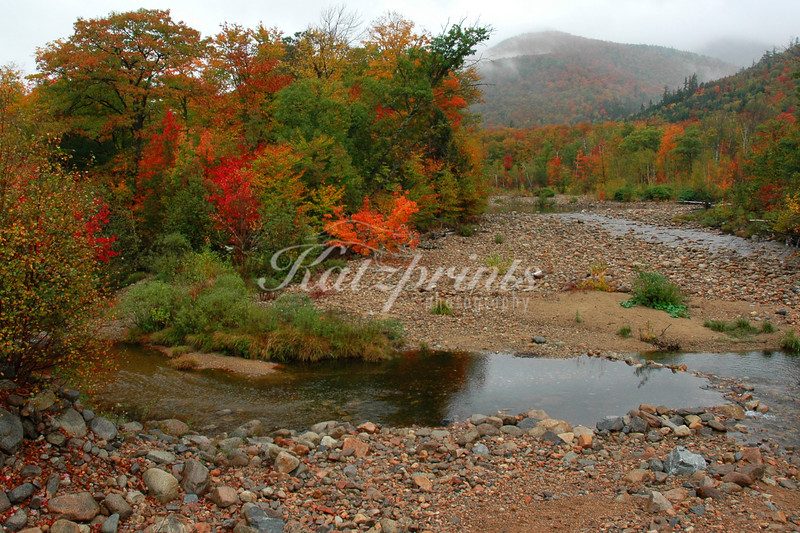 River meanders through colofrul forest along the Kancamagus Highway in New Hampshire
