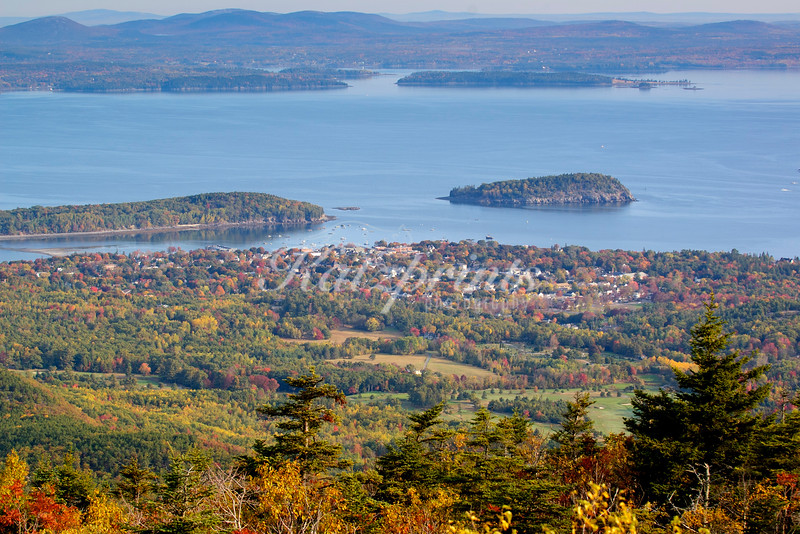 Morning light on Bar Harbor and Frenchman Bay