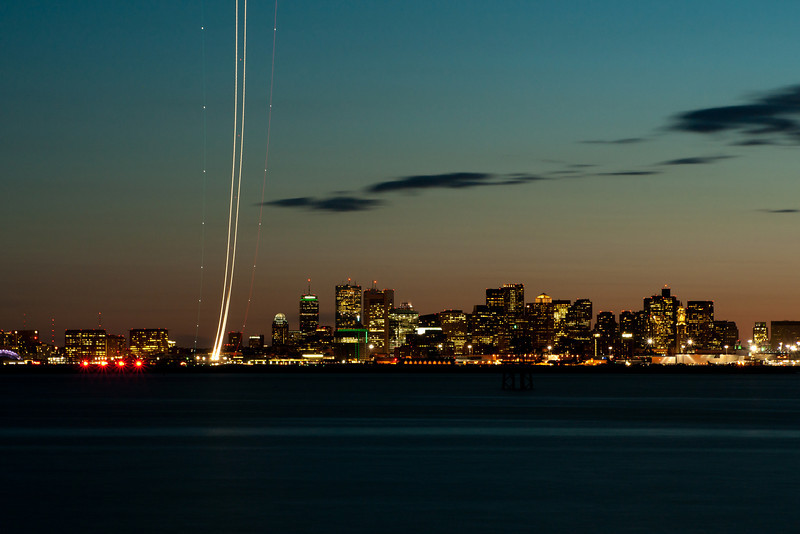 Evening departure from runway 9 at Boston.