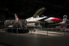 This F-16 served with the Thunderbirds and is now retired here at the Air Force Museum. Next to it is a spare engine.