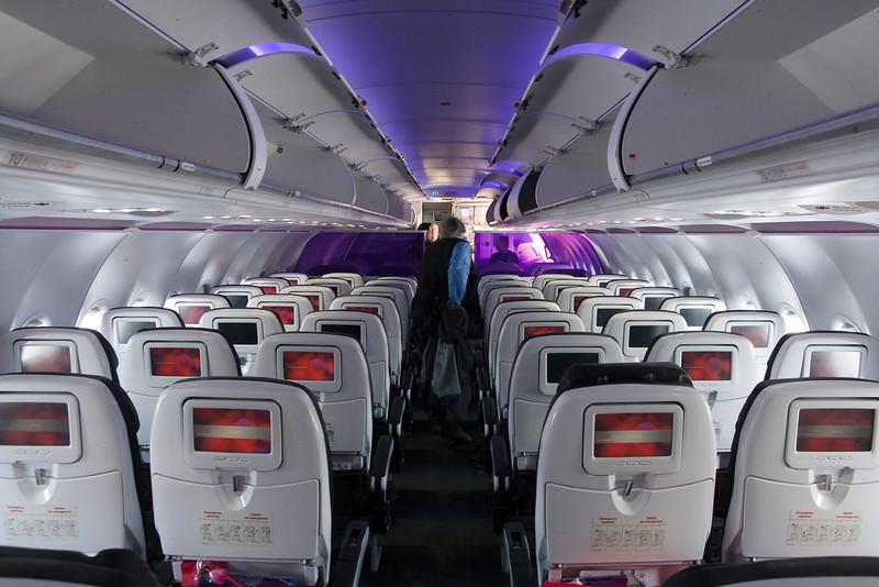 The interior of my VX flight to LAX after landing. Mood lighting!