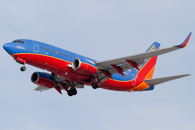 The Spirit of Kitty Hawk is a specially stickered Southwest 737.