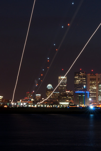 British Airways' 777 arrives at BOS during the night.