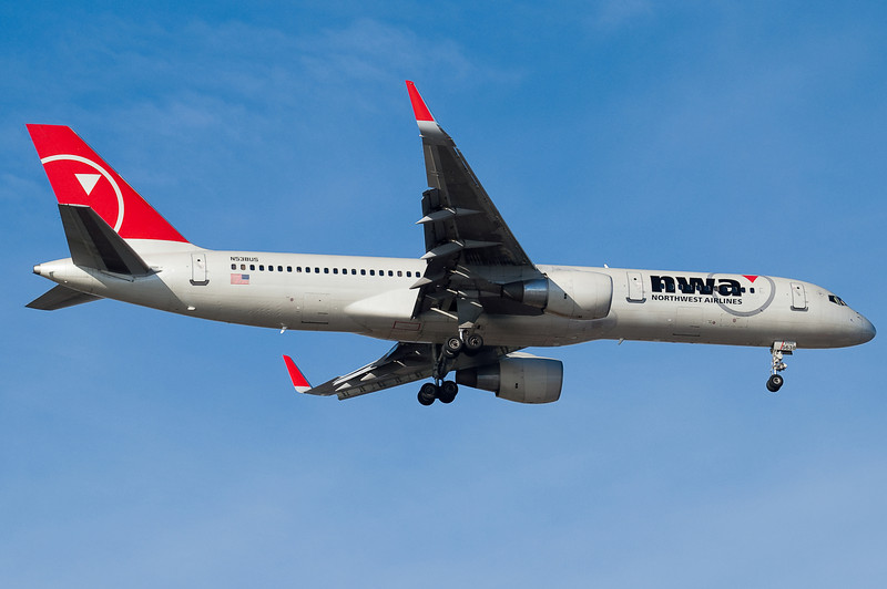 Northwest's morning Amsterdam flight is operated by a 757.