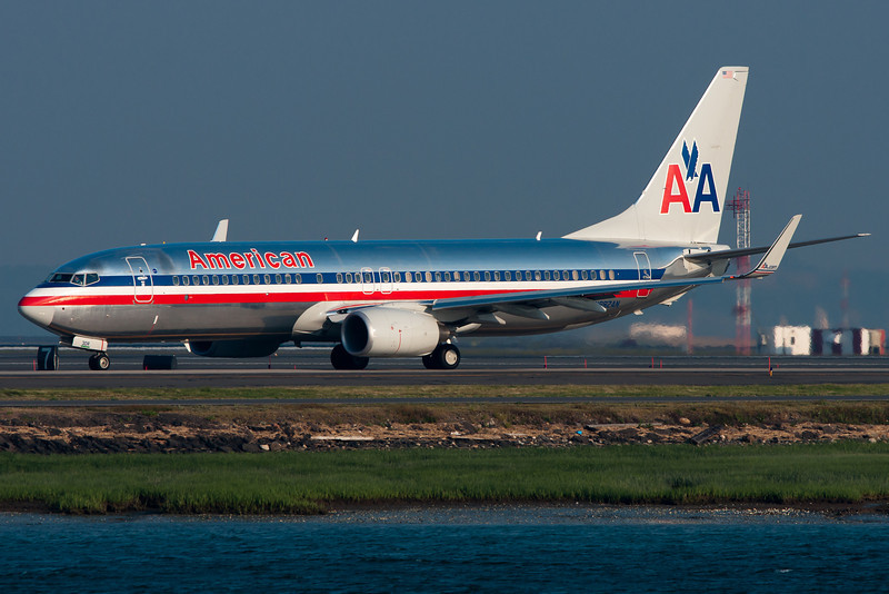 An American 737-800 getting ready to depart Boston.
