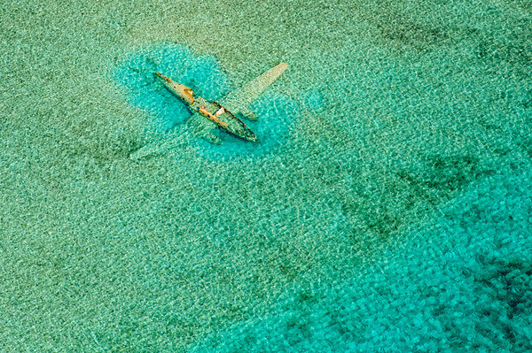 Ditched Curtis C-46 near Norman's Cay, Bahamas