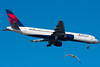 This seagull decided he wanted in on the action as this Delta 757 approaches runway 4R.