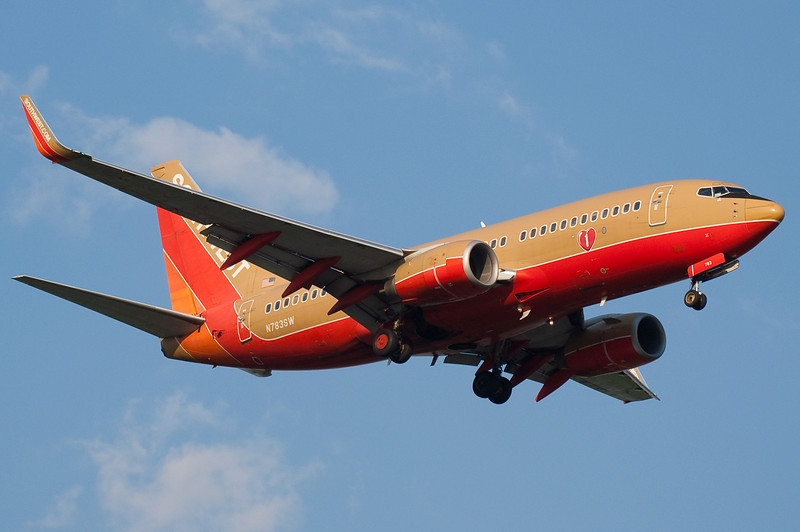 Sunset Southwest colors on final for runway 24.
