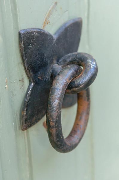 Old iron door knob with ring Bruges, an Unesco World Heritage Site in Flanders, Belgium, Europe