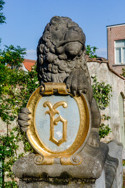 Lion statue in the city of Bruges, an Unesco World Heritage Site in Flanders, Belgium, Europe