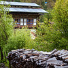BHUTAN. BUMTHANG. BHUTANESE HOUSE AND GARDEN.