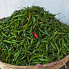 EAST BHUTAN. A BASKET FULL WITH GREEN PEPPERS AND ONE RED PEPPER.