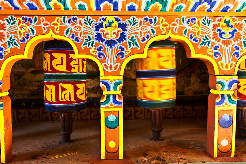 LUENTSHE DZONG. BHUTAN. SPINNING PRAYER WHEELS. [2]