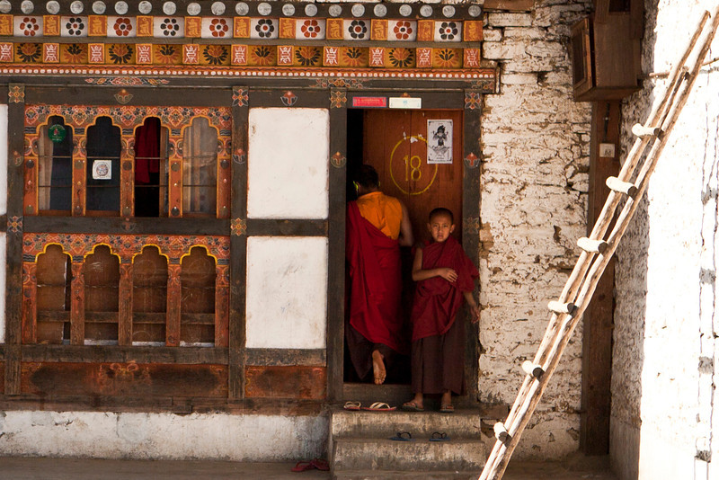 DRAMETSE GOEMBA MONASTERY WITH MONKS SCHOOL. EAST BHUTAN.