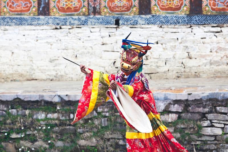 URA TSECHU FESTIVAL. BUMTHANG VALLEY. BHUTAN.