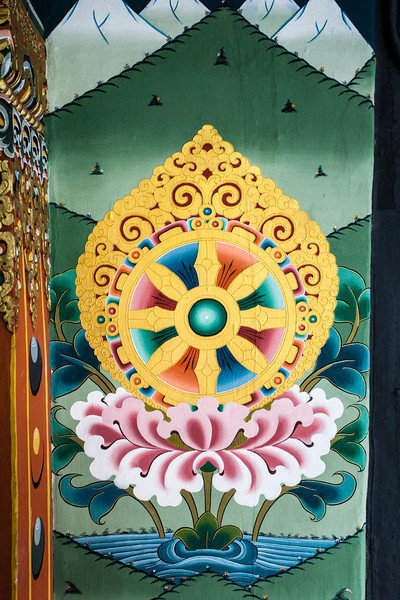 THIMPHU. TRASHI CHHOE DZONG. DHARMA WHEEL (WHEEL OF LIFE).